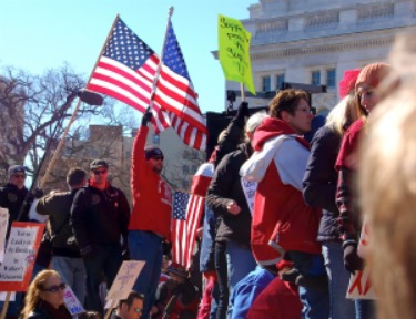 Video: Stand up for jobs, workers' rights and peace from Wisconsin to Washington