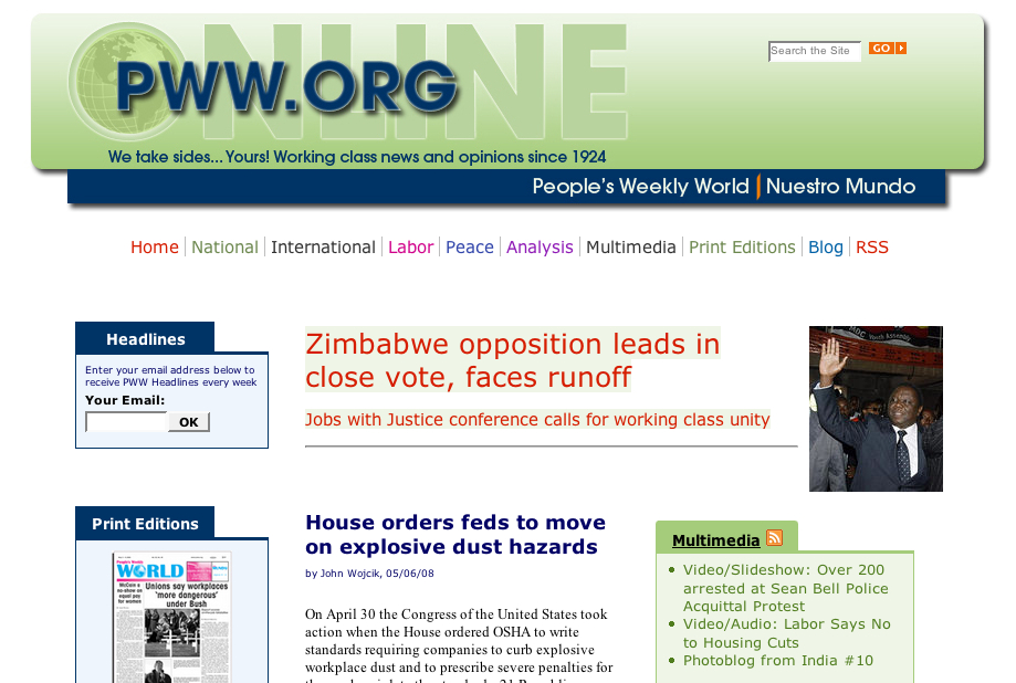 People's Weekly World Launches New Websites
