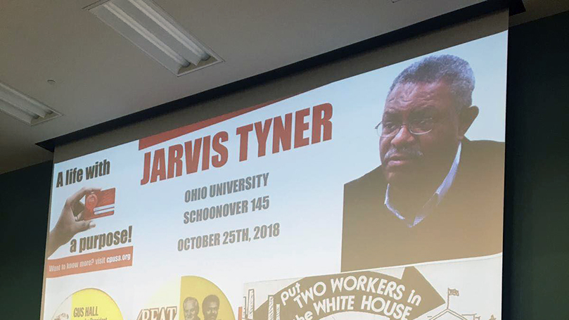 Communist Party's Jarvis Tyner speaks at Ohio University