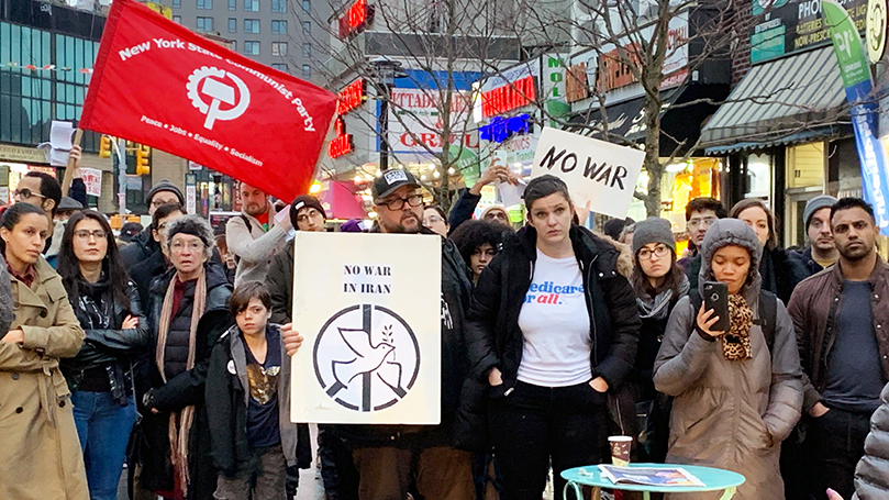 NY CP marches against Iran war threat